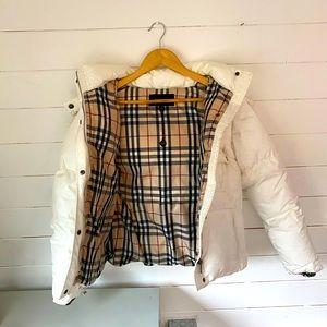 Burberry puffer jacket w fur hood